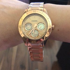 Fossil watch rose gold color
